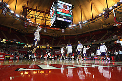05 January 2013:  Northern Iowa Panthers warm up in Redbird Arena on Doug Collins Court during an NCAA Missouri Valley Conference (MVC) mens basketball game between the Northern Iowa Panthers and the Illinois State Redbirds in Redbird Arena, Normal IL