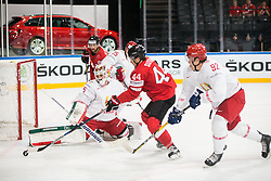 Kevin Lalande of Belarus and Roman Graborenko of Belarus vs Pius Suter of Switzerland during the 2017 IIHF Men's World Championship group B Ice hockey match between National Teams of Switzerland and Belarus, on May 10, 2017 in AccorHotels Arena in Paris, France. Photo by Vid Ponikvar / Sportida