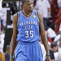 19 June 2012: Oklahoma City Thunder small forward Kevin Durant (35) is seen during the first quarter of Game 4 of the 2012 NBA Finals, Thunder at Heat, at the AmericanAirlinesArena, Miami, Florida, USA.