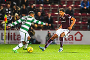 Celtic FC Defender Emilio Izaguirre on that attack against Hearts FC Forward Osman Sow during the Scottish League Cup presented by Ulilita Energy quarter final match between Heart of Midlothian and Celtic at Tynecastle Stadium, Gorgie, Scotland on 28 October 2015. Photo by Craig McAllister.