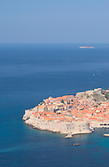 An aerial view of the terracotta rooftops of<br /> Dubrovnik old town, Croatia<br /> c. Ellen Rooney