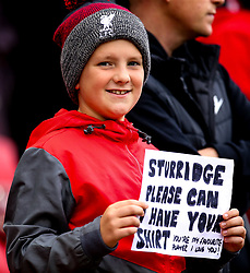 Liverpool fan holds up a sign asking for Daniel Sturridge of Liverpool shirt - Mandatory by-line: Robbie Stephenson/JMP - 22/09/2018 - FOOTBALL - Anfield - Liverpool, England - Liverpool v Southampton - Premier League