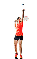 one caucasian young teenager girl woman playing Squash player isolated on white background