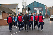 30th August 2019; Dens Park, Dundee, Scotland; Scottish Championship, Dundee Football Club versus Dundee United; Dundee manager James McPake leads his squad down Tannadice Street on the short walk from Dens Park to Tannadice