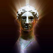Greece, Athens, The Greek Agora museum in the Stoa of Attalos. Bronze head of Nike (victory) 420 BCE. Digitally enhanced