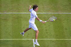 LONDON, ENGLAND - Monday, June 23, 2008:  Robin Haase (NED) in action during his first round match on day one of the Wimbledon Lawn Tennis Championships at the All England Lawn Tennis and Croquet Club. (Photo by David Rawcliffe/Propaganda)