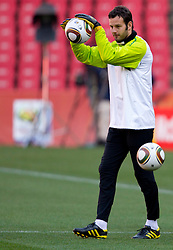 Goalkeeper of Slovenia Samir Handanovic warm up during training session at Ellis Park on June 17, 2010 in Johannesburg, South Africa. Slovenia will play their next FIFA World Cup Group C match against USA at Ellis Park in on Friday June 18, 2010, in Johannesburg, South Africa. (Photo by Vid Ponikvar / Sportida)