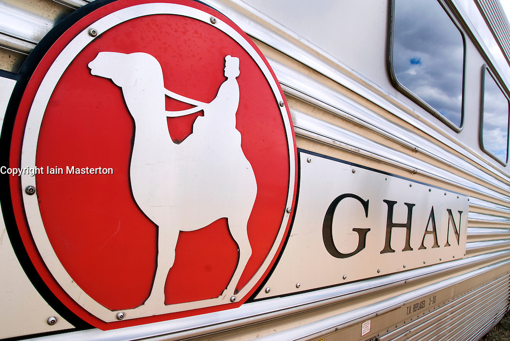 Detail of sign on side of famous Ghan train which travels between Adelaide and Darwin in Australia