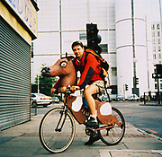 Man riding his customised Schwinn bike, New York, USA 1990's