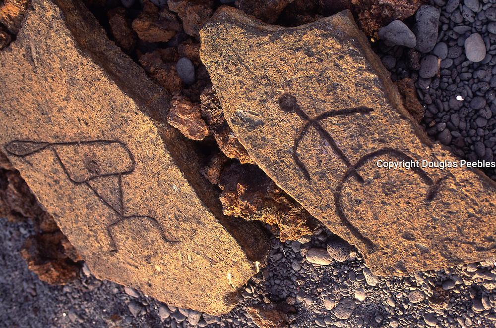 Petroglyphs, Kaupo, Kohala Coast, Island of Hawaii, Hawaii<br />