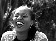 Desha Williams laughs in Chatsworth Park, in Chatsworth, Calif. on April 28, 2018 prior to her prom.