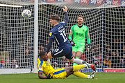 AFC Wimbledon attacker Michael Folivi (41) going down in the box during the EFL Sky Bet League 1 match between Southend United and AFC Wimbledon at Roots Hall, Southend, England on 16 March 2019.