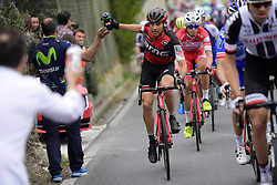 March 18, 2017 - San Remo, Italie - SANREMO, ITALY - MARCH 18 : CARUSO Damiano (ITA) Rider of BMC Racing Team is gripping a drinking bottle during the UCI WorldTour 108th Milan - Sanremo cycling race with start in Milan and finish at the Via Roma in Sanremo on March 18, 2017 in Sanremo, Italy, 18/03/2017  (Credit Image: © Panoramic via ZUMA Press)