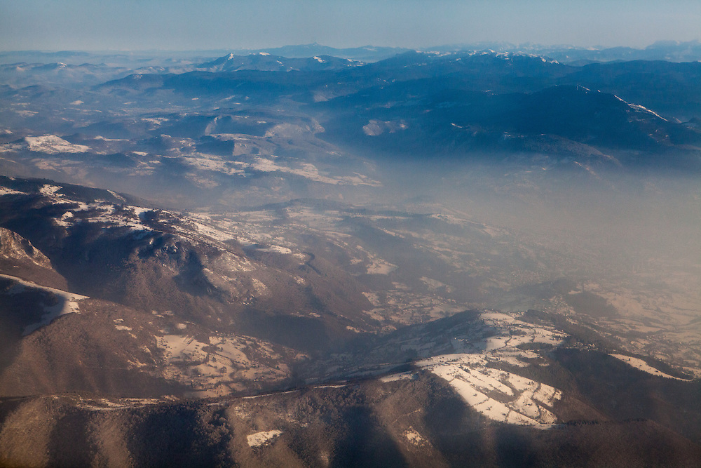 Mountains close to Sarajevo seen from an airplane shortly after leaving Sarajevo International Airport.