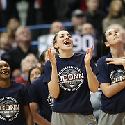 HARTFORD, CONNECTICUT- JANUARY 10: Katie Lou Samuelson #33 of the Connecticut Huskies watches video congratulations after the UConn teams ninetieth consecutive win during the the UConn Huskies Vs USF Bulls, NCAA Women's Basketball game on January 10th, 2017 at the XL Center, Hartford, Connecticut. (Photo by Tim Clayton/Corbis via Getty Images)