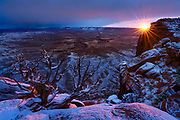 A winter sunset from the Green River Overlook. Island in the Sky District of Canyonlands National Park near Moab, Utah.