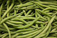 Close-up of string beans in market