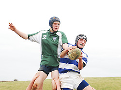 Rice College's Eddie Dunning competes in the lineout against Garbally College in the Connacht Schools Junior Cup...Pic Conor McKeown