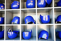 4 May 2011: Player batting helmets in the cubby holes inside the dugout before the Cubs defeated the Dodgers 5-1 during a Major League Baseball game at Dodger Stadium in Los Angeles, California.  Dodgers players are wearing Brooklyn Dodger 1940's throwback jersey uniforms and the Chicago Cubs are also wearing throwback retro jersey uniforms. **Editorial Use Only**