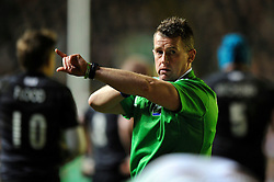Referee Nigel Owens - Photo mandatory by-line: Patrick Khachfe/JMP - Tel: Mobile: 07966 386802 18/01/2014 - SPORT - RUGBY UNION - Welford Road, Leicester - Leicester Tigers v Ulster Rugby - Heineken Cup.