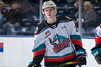 KELOWNA, BC - JANUARY 11: Conner McDonald #7 of the Kelowna Rockets warms up against the Kamloops Blazers at Prospera Place on January 11, 2020 in Kelowna, Canada. (Photo by Marissa Baecker/Shoot the Breeze)