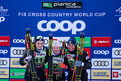 Nilsson Stina (SWE) 2nd, Sundling Jonna (SWE) 1st, Kern Julia (USA) 3rd during the Ladies sprint free race at FIS Cross Country World Cup Planica 2019, on December 21, 2019 at Planica, Slovenia. Photo By Peter Podobnik / Sportida