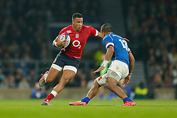 England Winger Anthony Watson is challenged by Samoa Outside Centre Reynold Lee-Lo - Photo mandatory by-line: Rogan Thomson/JMP - 07966 386802 - 22/11/2014 - SPORT - RUGBY UNION - London, England - Twickenham Stadium - England v Samoa - QBE Autumn Internationals.