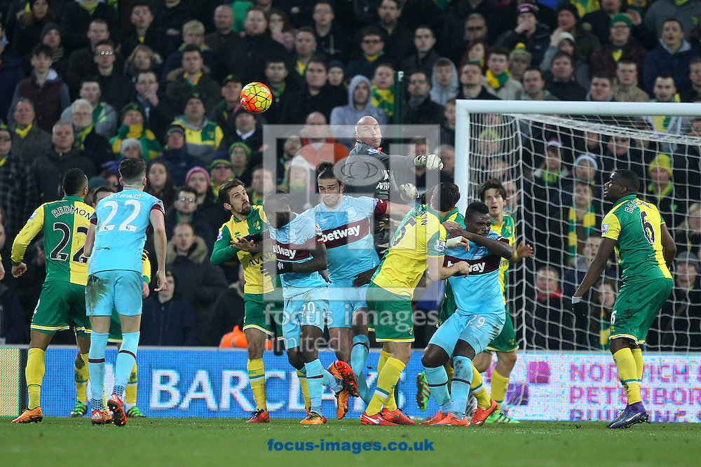 John Ruddy of Norwich punches clear during the Barclays Premier League match at Carrow Road, Norwich<br /> Picture by Paul Chesterton/Focus Images Ltd +44 7904 640267<br /> 13/02/2016