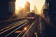 BTS Sky Train at sunrise, Bangkok, Thailand, Southeast Asia