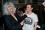 WRITER OF 'DIRTY DANCING' ELEANOR BERGSTEIN AND NEW CAST MEMBER RAY QUINN, Party in theatre bar to celebrate a Cast change for DIRTY DANCING, THE ALDWCH THEATRE, London ,28 July 2010.<br />  <br /> -DO NOT ARCHIVE-© Copyright Photograph by Dafydd Jones. 248 Clapham Rd. London SW9 0PZ. Tel 0207 820 0771. www.dafjones.com.