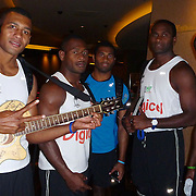 The Fijian National 7's Rugby Team cools out with its own jams before dinner at the glitzy Planet Hollywood Hotel in Las Vegas.  Photo by Barry Markowitz, 2/8/12