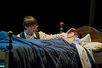 "Dawson Ellis as Archibald Craven and Chandler Green as Colin in ""The Secret Garden"" at Gilford High School's dress rehearsal on Wednesday evening.  (Karen Bobotas/for the Laconia Daily Sun)"