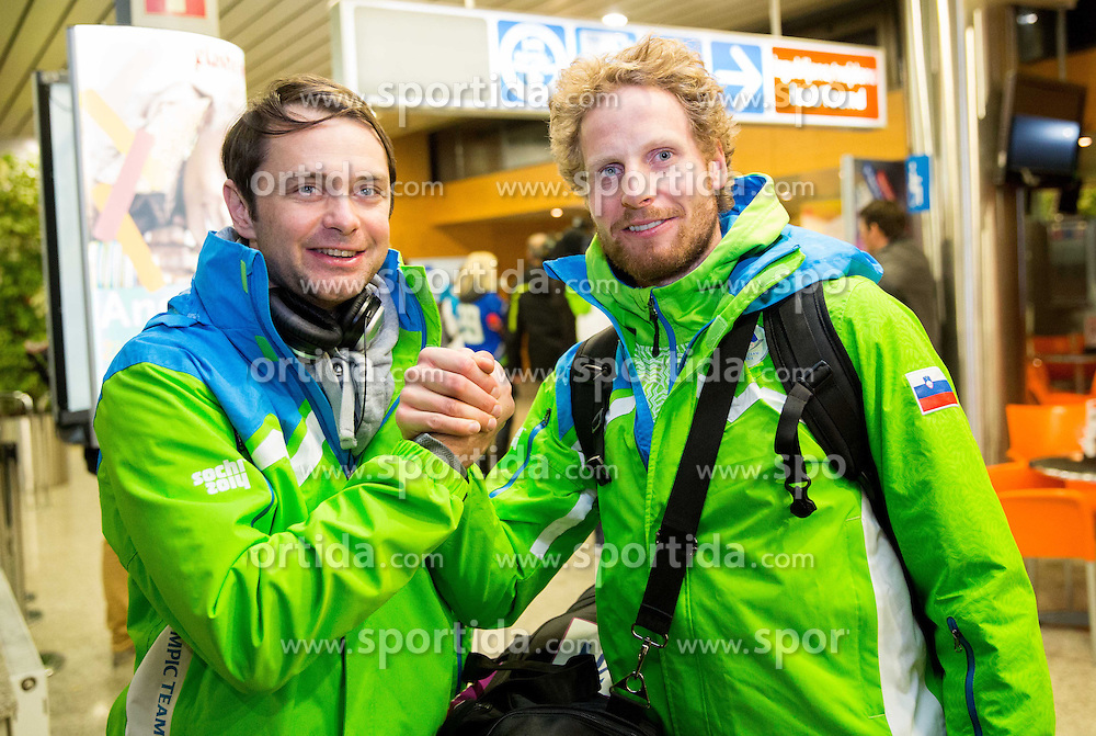 Rok Flander and Klemen Bauer at reception of Slovenia team arrived from Winter Olympic Games Sochi 2014 on February 25, 2014 at Airport Joze Pucnik, Brnik, Slovenia. Photo by Vid Ponikvar / Sportida