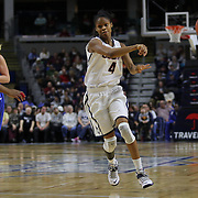 Moriah Jefferson, UConn, in action during the UConn Vs DePaul, NCAA Women's College basketball game at Webster Bank Arena, Bridgeport, Connecticut, USA. 19th December 2014