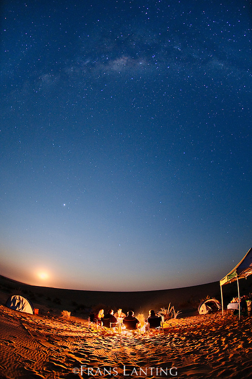 Desert camp under starry night sky, Namib-Naukluft National Park, Namibia
