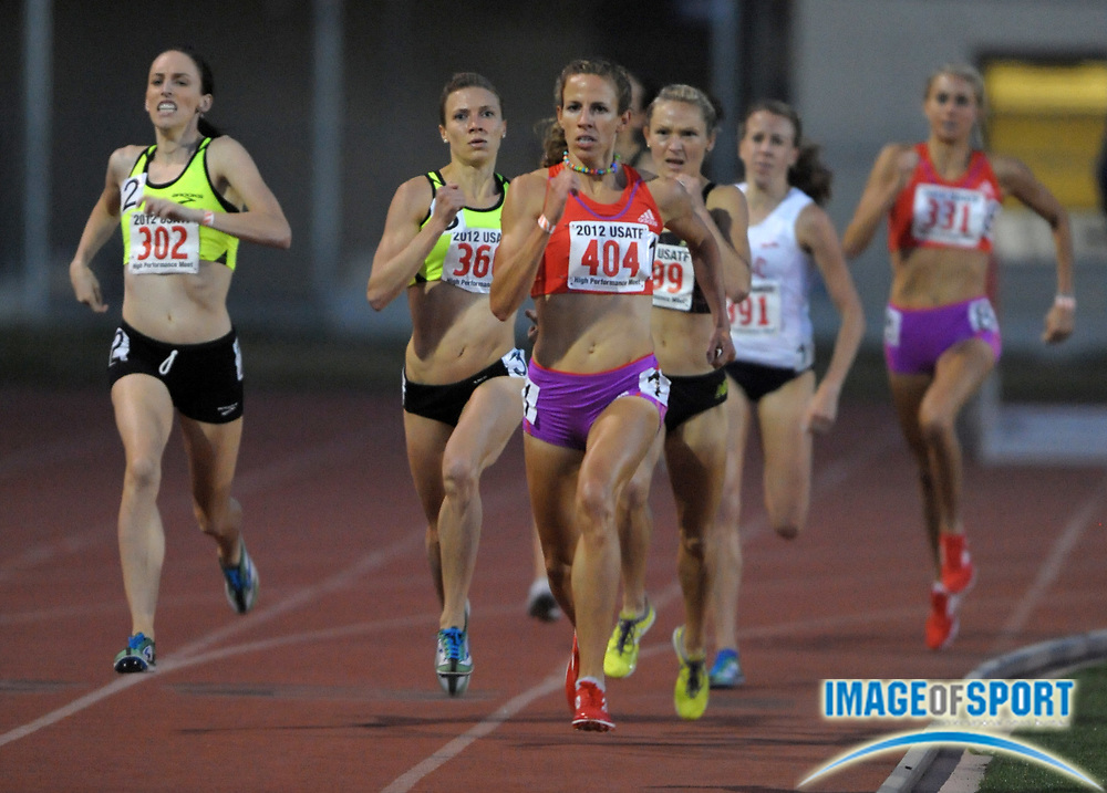 May 18, 2012; Los Angeles, CA, USA; Morgan Uceny (404) runs 4:06.52 in a womens 1,500m heat in the 2012 USATF High Performance meet at Occidental College.