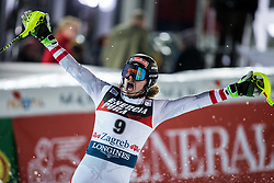 "Manuel Feller (AUT) celebrates during the 2nd Run of FIS Alpine Ski World Cup 2017/18 Men's Slalom race named ""Snow Queen Trophy 2018"", on January 4, 2018 in Course Crveni Spust at Sljeme hill, Zagreb, Croatia. Photo by Vid Ponikvar / Sportida"