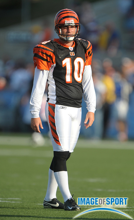 Aug 8, 2010; Canton, OH, USA; Cincinnati Bengals punter Kevin Huber (10) during the preseason game against the Dallas Cowboys at Fawcett Stadium. Photo by Image of Sport