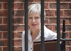 © Licensed to London News Pictures. 17/07/2018. London, UK. Prime Minister Theresa May leaves Downing Street for Parliament. Photo credit: Peter Macdiarmid/LNP