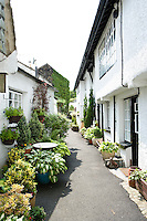 well planted pots and containers outside homes in Hawkshead