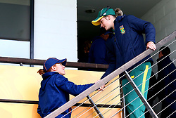 Dane van Niekerk of South Africa Women shakes hands with the New Zealand Women players after their Women's World Cup match is abandoned due to the rain - Mandatory by-line: Robbie Stephenson/JMP - 28/06/2017 - CRICKET - County Ground - Derby, United Kingdom - South Africa Women v New Zealand Women - ICC Women's World Cup Match 6