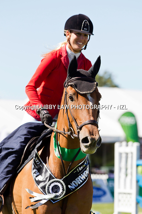 NZL-Katie McVean (DUNSTAN SPRINGFIELD) TITLE WINNER 1ST-VIRBAC VETSEARCH NORWOOD GOLD CUP 1.45M: 2013 NZL-Horse Of The Year Show: Wednesday