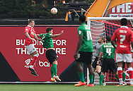 Aden Flint (left) of Bristol City scores his sides first goal during the Sky Bet League 1 match at Ashton Gate, Bristol<br /> Picture by Tom Smith/Focus Images Ltd 07545141164<br /> 06/09/2014