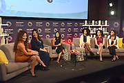 Actress Diane Guerrero, center, moderates a panel of Latina trendsetters, Janet Jones, founder of Vixen Workout, Denise Soler Cox, filmmaker and founder of Project Enye, Raquel Sofía, singer and songwriter, Eliana Murillo, Head of Multicultural Marketing at Google, and Emmelie De La Cruz, personal branding expert, left to right, at at P&G's Orgullosa #LivingFabulosa event,Tuesday, Feb. 23, 2016, in New York.  The panel discussed the importance of having more Latina role models to inspire and guide the next generation of Latinas.  (Photo by Diane Bondareff/Invision for P&G Orgullosa/AP Images)