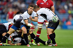 Valentin Calafeteanu of Romania passes the ball - Mandatory byline: Patrick Khachfe/JMP - 07966 386802 - 06/10/2015 - RUGBY UNION - Leicester City Stadium - Leicester, England - Canada v Romania - Rugby World Cup 2015 Pool D.