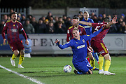 AFC Wimbledon midfielder Mitchell (Mitch) Pinnock (11) going down in the box and appealing for a penalty during the EFL Sky Bet League 1 match between AFC Wimbledon and Ipswich Town at the Cherry Red Records Stadium, Kingston, England on 11 February 2020.
