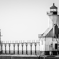 St. Joseph Lighthouses Black and White Panorama Picture. Photo includes both the inner and outer Saint Joseph lighthouses and Lake Michigan. Panoramic photo ratio is 1:3. Image Copyright © Paul Velgos All Rights Reserved.