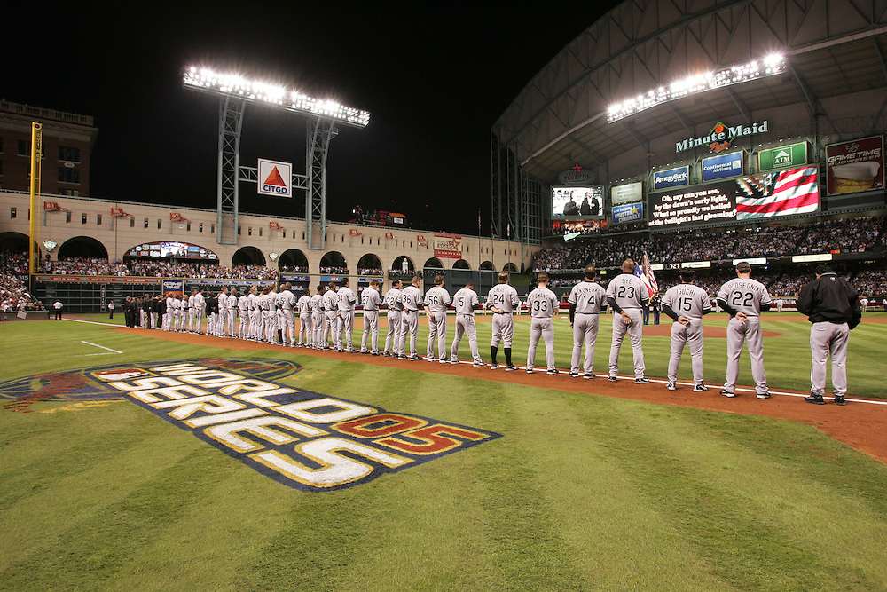 CHICAGO - OCTOBER 25:  The Chicago White Sox line up for the national anthem prior to Game 3 of the 2005 World Series against the Houston Astros at Minute Maid Field on October 25, 2005 in Chicago, Illinois.  The White Sox defeated the Astros 7-5.