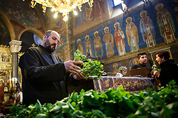 April 14, 2017 - Sofia, Bulgaria - Eastern Orthodoxy monk gives geranium to all pilgrims as part of the custom for the Holy Friday. Christians are marking the Holy Week, commemorating the crucifixion of Jesus Christ, leading up to his resurrection on Easter, on April, 14 in Sofia, Bulgaria. (Credit Image: © Plamen Trifonov/NurPhoto via ZUMA Press)
