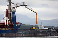 The Norwegian-registered Eidholm a ship supplying feed to  salmon farms on the west coast of Scotland.<br /> <br /> Photograph © Colin McPherson, 2019 all rights reserved